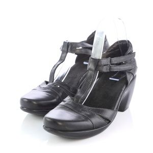 Naot Black Leather Mary Janes Pumps T-Strap Heels